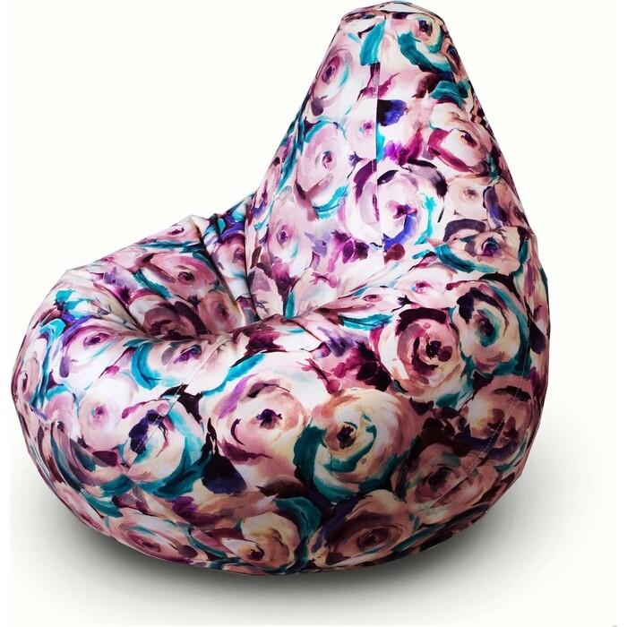Кресло бескаркасное Mypuff Груша роузи бирюза размер комфорт мебельный велюр bbb_510
