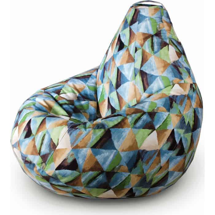 Кресло бескаркасное Mypuff Груша твинкли бирюза размер комфорт мебельный велюр bbb_509