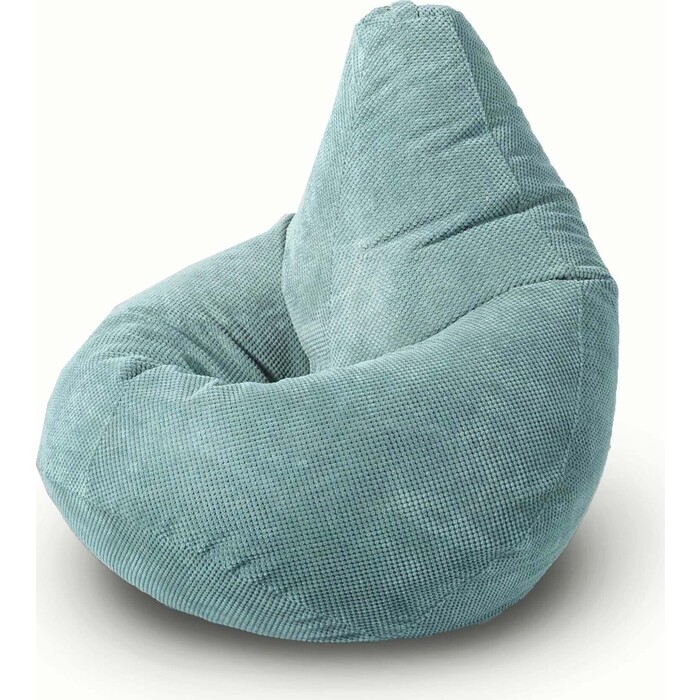 Кресло бескаркасное Mypuff Груша ментол размер комфорт объемный велюр bbb_504