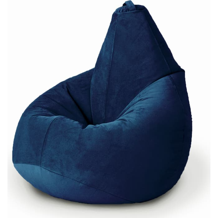Кресло бескаркасное Mypuff Груша темно-синий размер комфорт мебельный велюр bbb_502