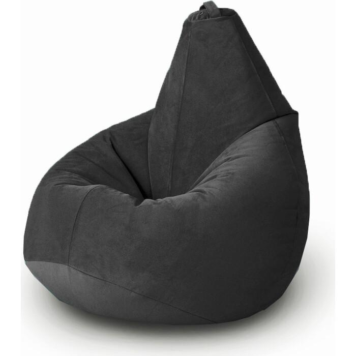 Кресло бескаркасное Mypuff Груша темная ночь размер комфорт мебельный велюр bbb_471