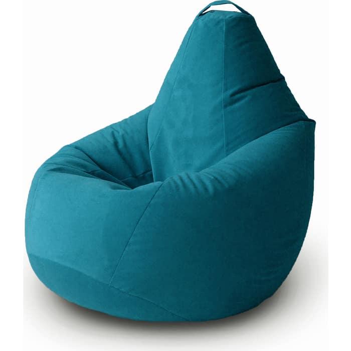 Кресло бескаркасное Mypuff Груша Бирюза размер комфорт мебельный велюр bbb_398