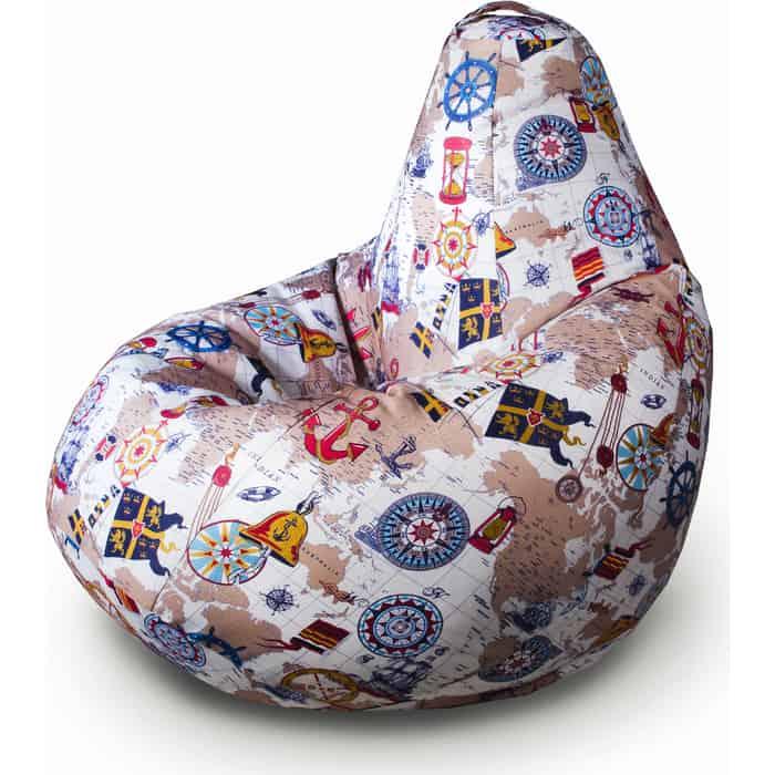 Кресло бескаркасное Mypuff Груша карта размер комфорт мебельный хлопок bbb_317