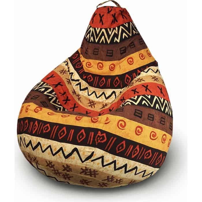 Кресло бескаркасное Mypuff Груша Африка размер комфорт мебельный хлопок bbb_048