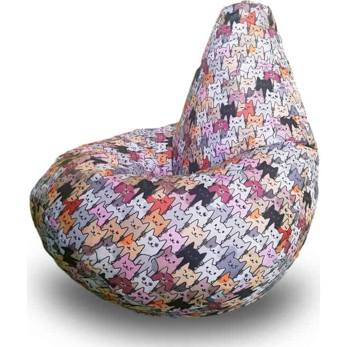Кресло бескаркасное Mypuff Груша коты серые размер стандарт принтованный оксфорд b_592