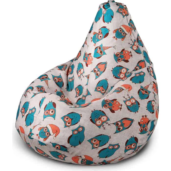 Кресло бескаркасное Mypuff Груша новогодние совы размер стандарт мебельный хлопок b_578