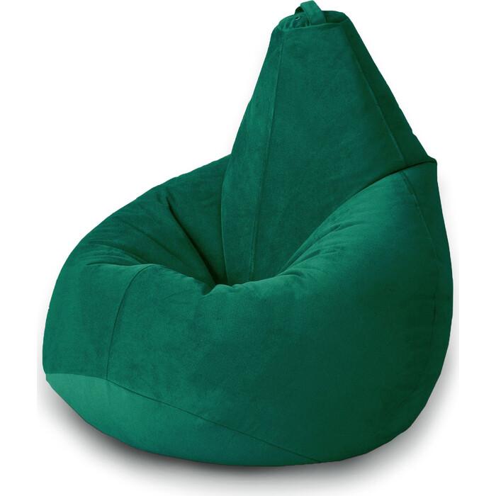 Кресло бескаркасное Mypuff Груша темный изумруд размер стандарт мебельный велюр b_469