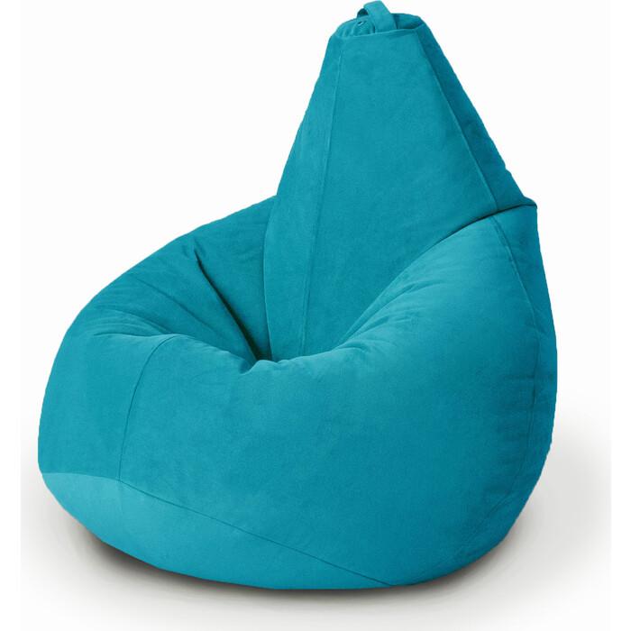 Кресло бескаркасное Mypuff Груша бирюза размер стандарт мебельный велюр b_398