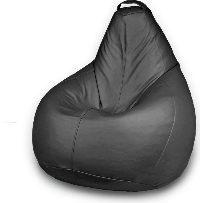 Кресло бескаркасное Mypuff Груша Отто черный размер стандарт экокожа b_057