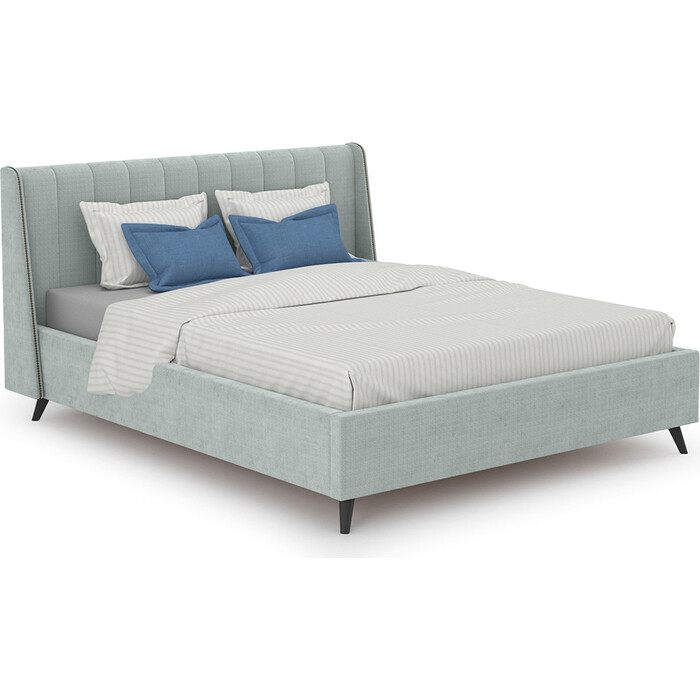 Кровать интерьерная Нижегородмебель и К Мелисса + ортопед ткань Велюр Тори 61 велюр (серебристый серый) 160x200
