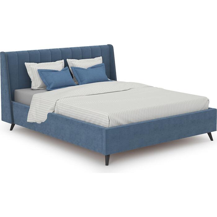 Кровать интерьерная Нижегородмебель и К Мелисса + ортопед ткань Велюр Тори 83 велюр (серо-синий) 160x200