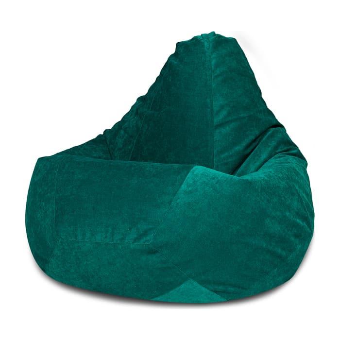 Кресло-мешок Bean-bag Груша изумрудный микровельвет XL
