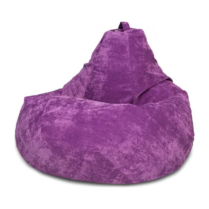 Кресло-мешок Bean-bag Груша фиолетовый микровельвет XL