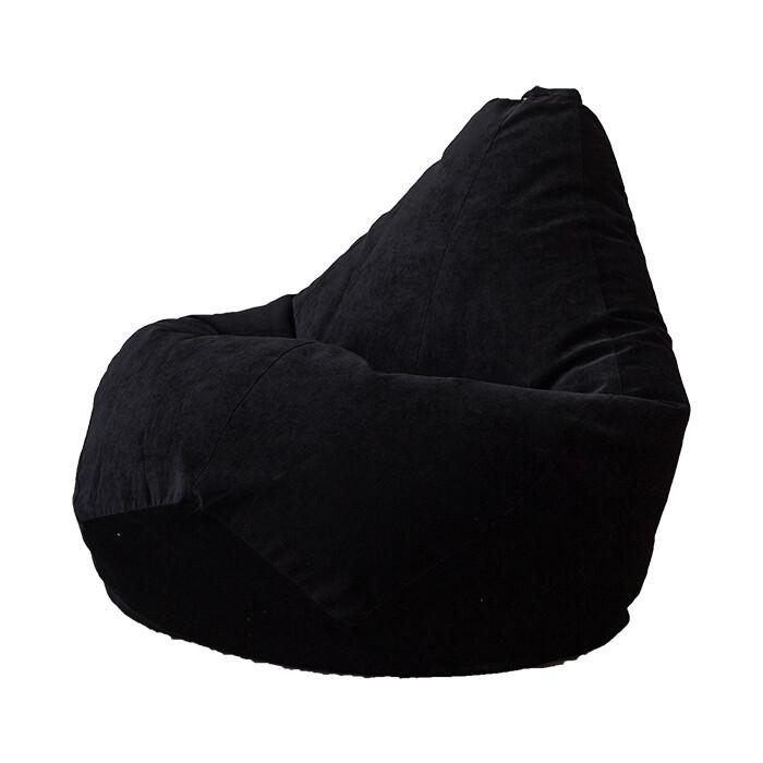 Кресло-мешок Bean-bag Груша черный микровельвет XL
