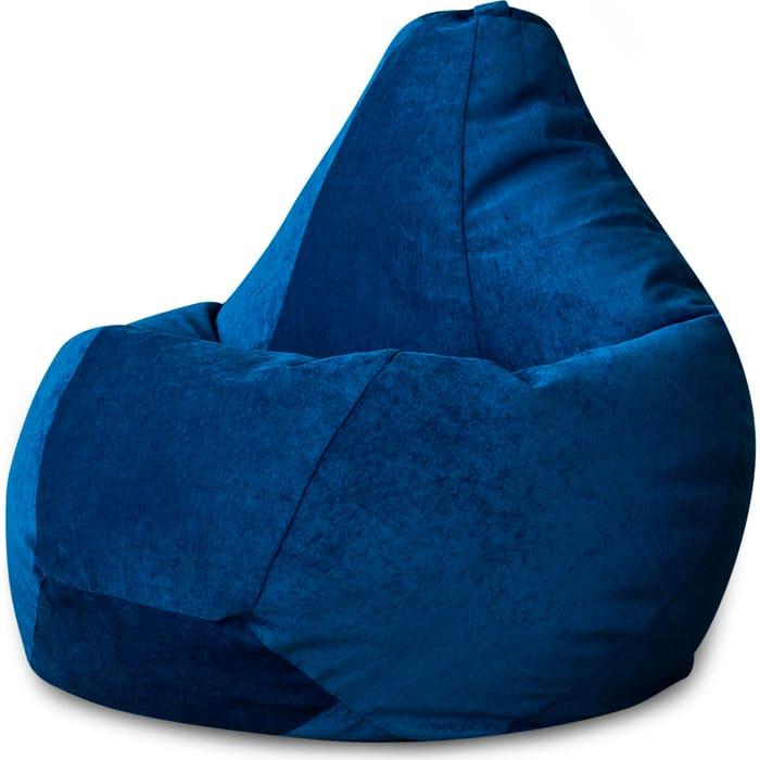 Кресло-мешок Bean-bag Груша синий микровельвет XL