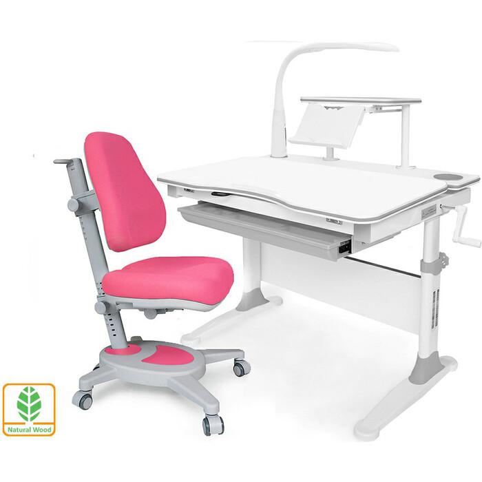 Комплект (стол+полка+кресло+чехол+лампа) Mealux EVO Evo-30 G (Evo-30 + Y-110 KP) дерево/белая столешница дерево/цвет пластика серый