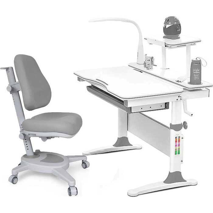 Комплект (стол+полка+кресло+чехол+лампа) Mealux EVO Evo-30 G (Evo-30 + Y-110 G) дерево/белая столешница дерево/цвет пластика серый