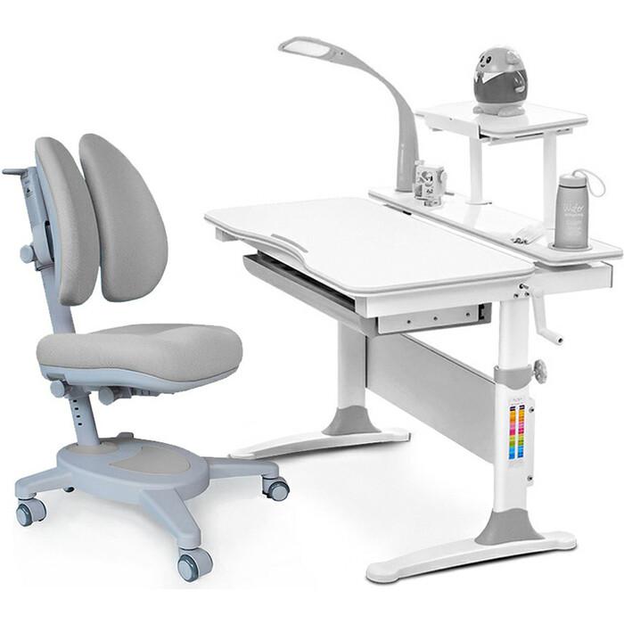 Комплект (стол+полка+кресло+чехол+лампа) Mealux EVO Evo-30 G (Evo-30 + Y-115 G) дерево/белая столешница дерево/цвет пластика серый