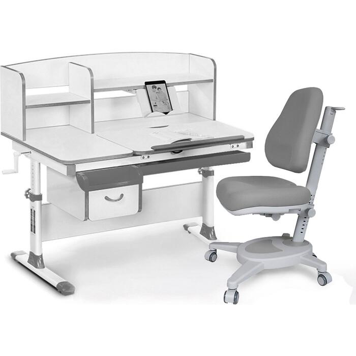 Комплект (стол+полка+кресло+чехол) Mealux EVO Evo-50 G (Evo-50 + Y-110 G) белая столешница/цвет пластика серый