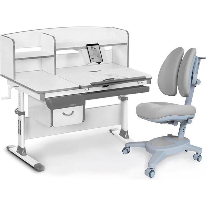 Комплект (стол+полка+кресло+чехол) Mealux EVO Evo-50 G (Evo-50 + Y-115 G) белая столешница/цвет пластика серый