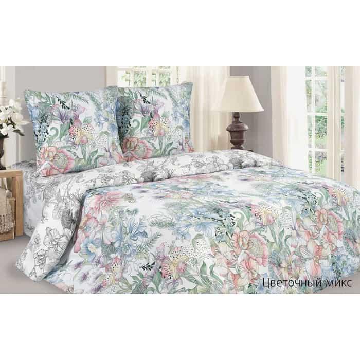 Комплект постельного белья Ecotex Поэтика Евро Цветочный микс (4660054347726)
