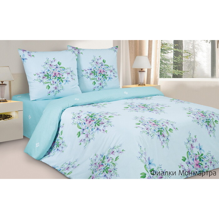 Комплект постельного белья Ecotex Поэтика Евро Фиалки Монмартра (4660054347849)