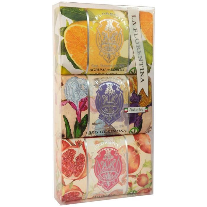 Мыло La Florentina в наборе 3*200 г Citrus, Iris, Pomegranate / Цитрус, Флорентийский ирис, Гранат