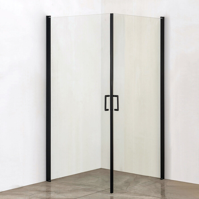 Душевой уголок Orange E04 90x90 прозрачное стекло, профиль черный (E04-090TB) недорого