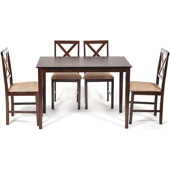 Обеденный комплект TetChair Хадсон (стол + 4 стула)/ Hudson Dining Set дерево гевея/ мдф, cappuccino (темный орех) ткань коричнево-золотая