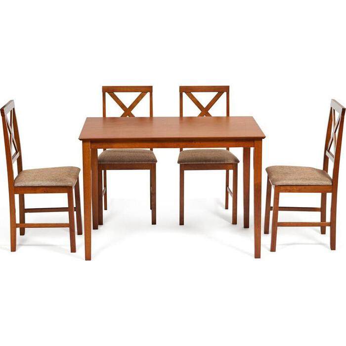 Обеденный комплект TetChair Хадсон (стол + 4 стула)/ Hudson Dining Set дерево гевея/ мдф Espresso ткань коричнево-золотая (1505-9)