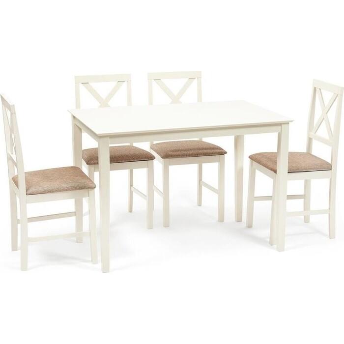 Обеденный комплект TetChair Хадсон (стол + 4 стула)/ Hudson Dining Set дерево гевея/ мдф ivory white (слоновая кость) ткань коричнево-золотая