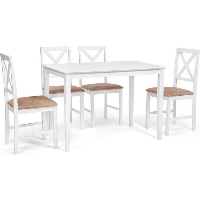 Обеденный комплект TetChair Хадсон (стол + 4 стула)/ Hudson Dining Set дерево гевея/ мдф pure white (белый 2-1) ткань коричнево-золотая (1505)