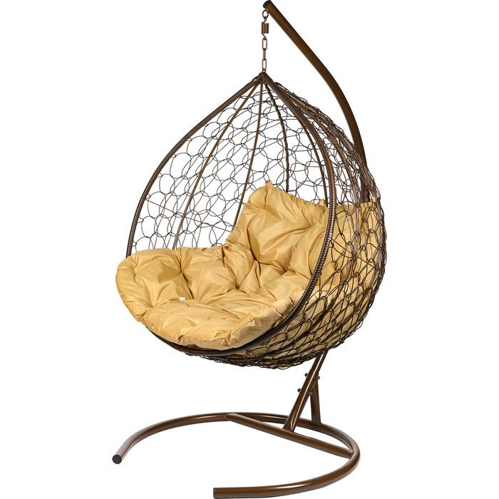 Двойное подвесное кресло BiGarden Gemini brown бежевая подушка