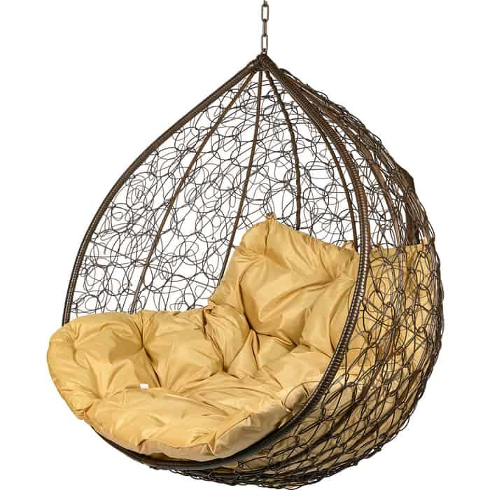 Двойное подвесное кресло BiGarden Gemini brown BS без стойки бежевая подушка