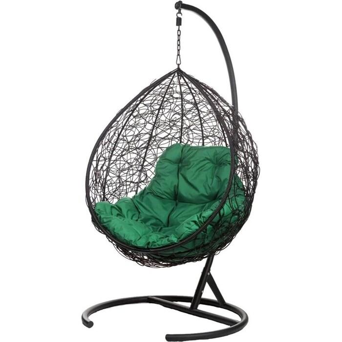 Подвесное кресло BiGarden Tropica black, зеленая подушка