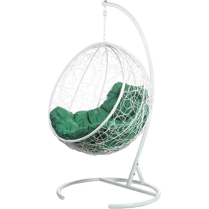 Подвесное кресло BiGarden Kokos white, зеленая подушка