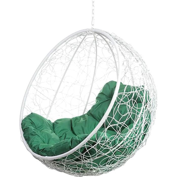 Подвесное кресло BiGarden Kokos white BS без стойки, зеленая подушка
