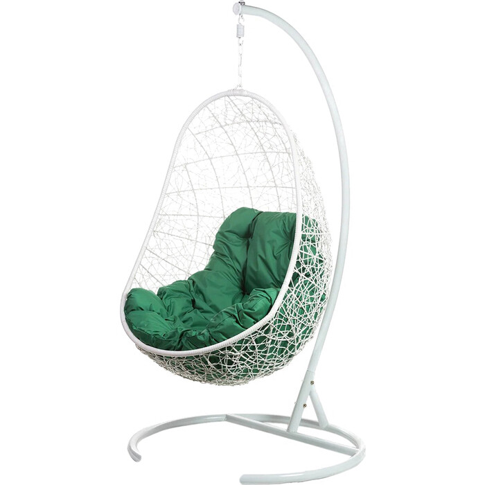 Подвесное кресло BiGarden Easy white, зеленая подушка