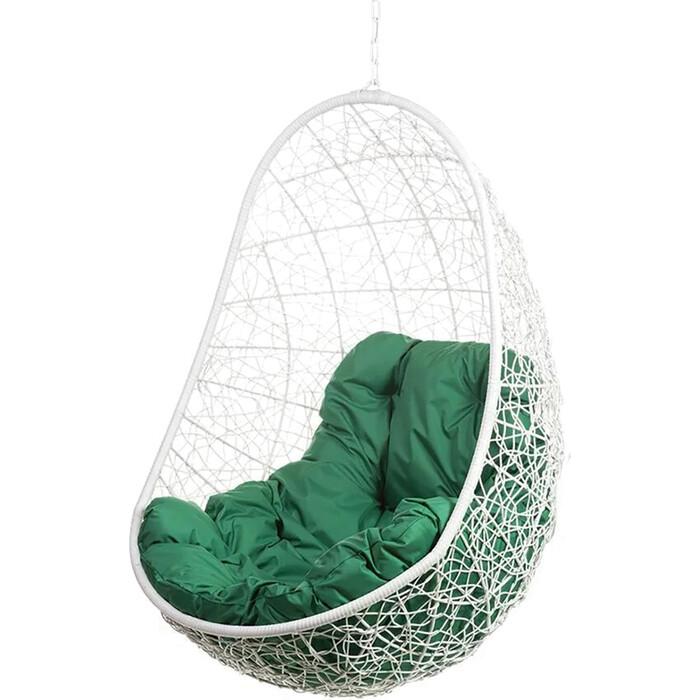 Подвесное кресло BiGarden Easy white BS без стойки зеленая подушка