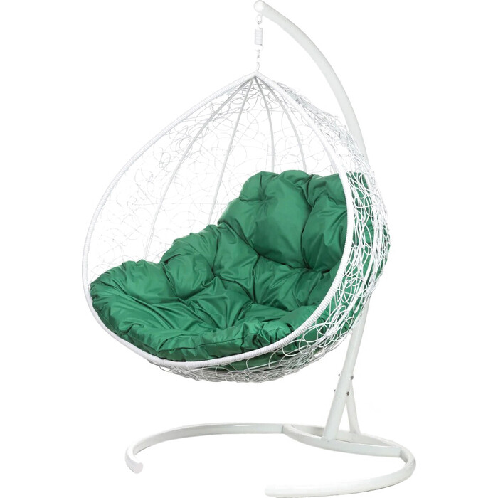 Двойное подвесное кресло BiGarden Gemini white зеленая подушка