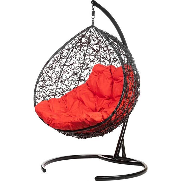 Двойное подвесное кресло BiGarden Gemini black красная подушка