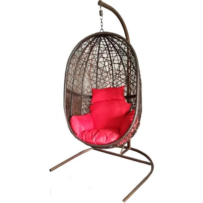 Подвесное кресло Мебиус Кокон XL стойка черная/корзина темно-коричневая/подушка красная/бежевая