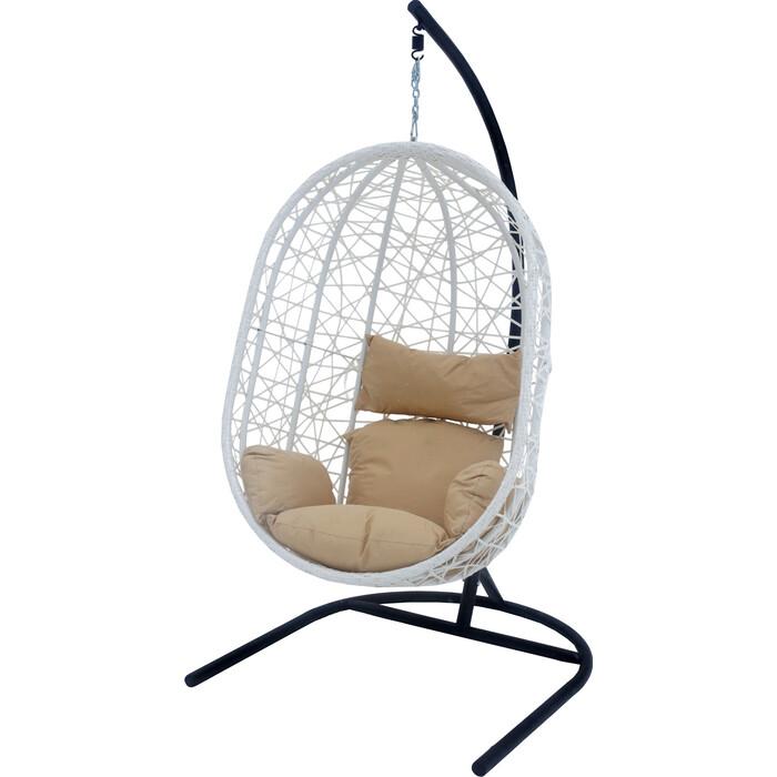 Мебиус Подвесное кресло Кокон XL стойка белая/основание белое/корзина молочная/подушка бежевая D52-MT002