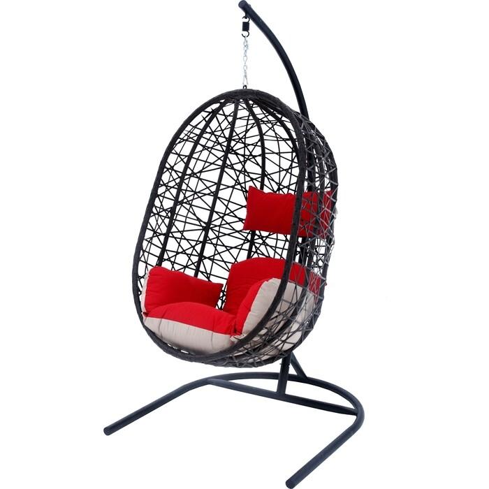 Мебиус Подвесное кресло Кокон XL стойка черная/основание черное/корзина темно-коричневаяподушка красно-бежевая D52-MT003