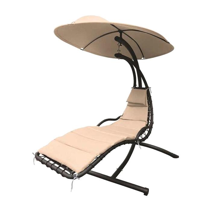 Мебельторг Подвесное кресло Лаура стойка коричневая/каркас черный/ткань бежевая ZRB05