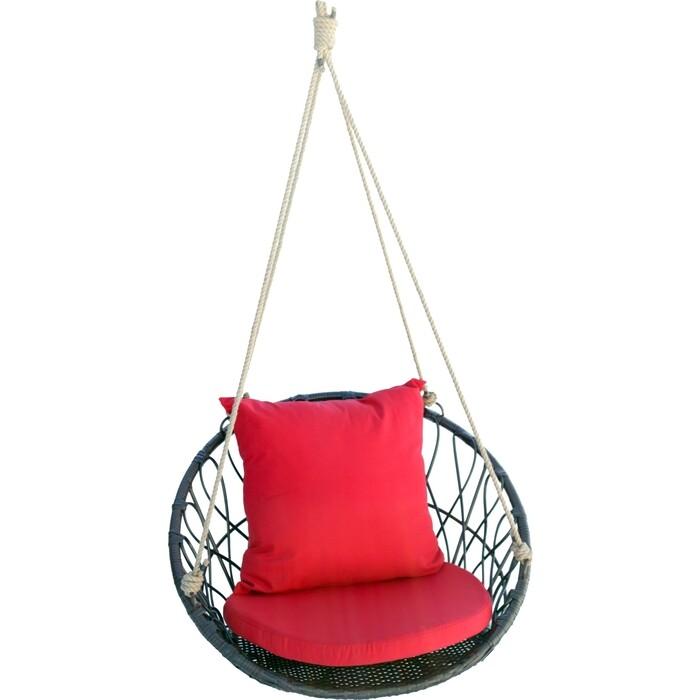 Мебиус Подвесное кресло Майорка корзина кофейная/подушка красная M455-MT001