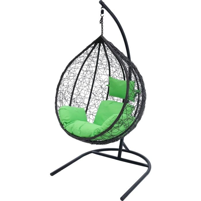 Мебельторг Подвесное кресло Сфера стойка черная/ основание черное/корзина черная/подушка зеленая N-908