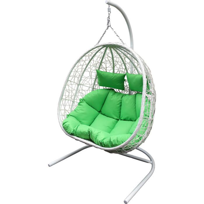 Мебиус Подвесное кресло двойное Флора стойка белая/основание белое/корзина молочная/подушка салатовая D40-MT002