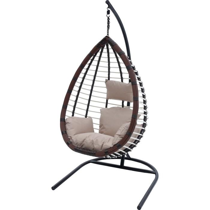 Мебиус Подвесное кресло Шарм стойка черная/основание черное/корзина коричневая/подушка бежевая D159-MT003