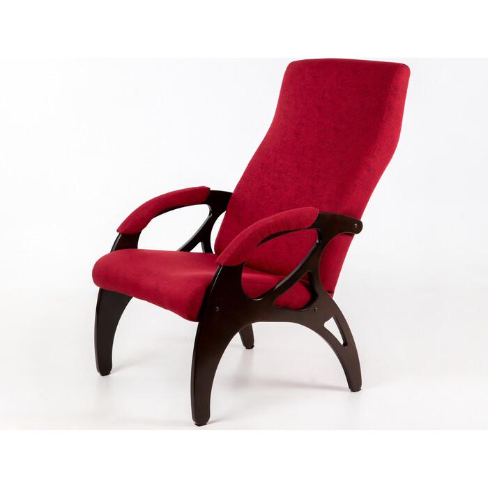 Кресло Мебелик Бергамо ткань бордо/каркас орех